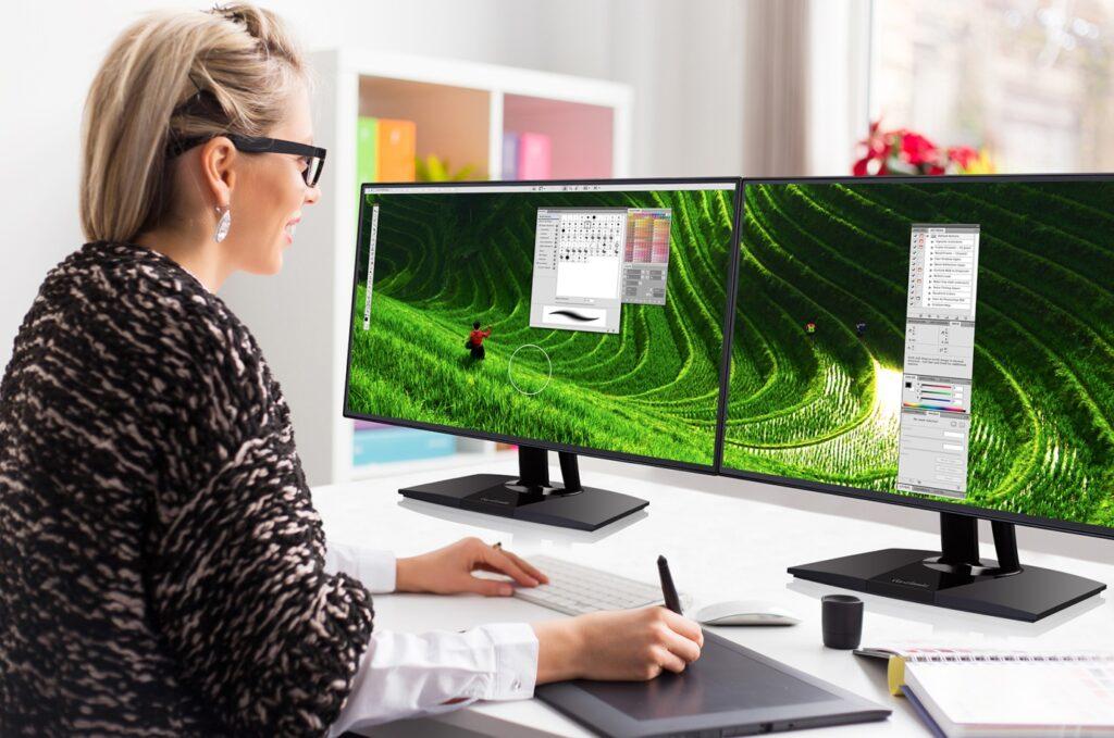 looking at the monitors